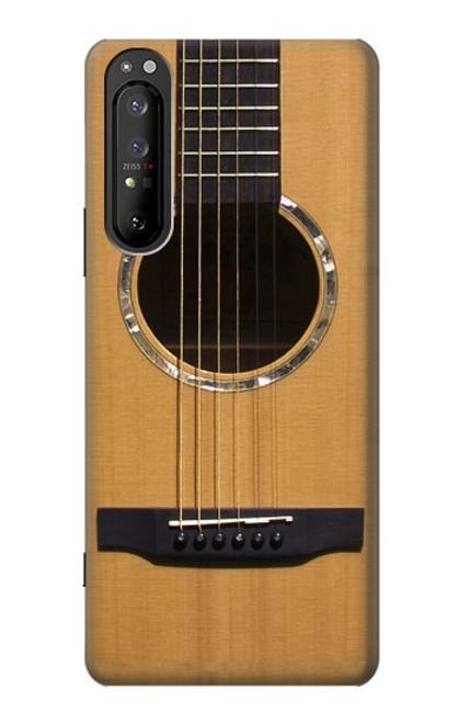 W0057 Acoustic Guitar Funda Carcasa Case y Caso Del Tirón Funda para Sony Xperia 1 II