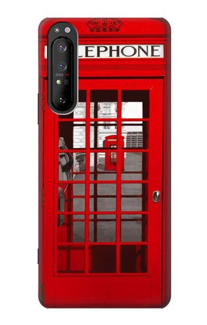 W0058 British Red Telephone Box Funda Carcasa Case y Caso Del Tirón Funda para Sony Xperia 1 II