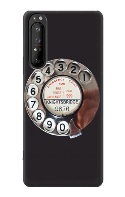 W0059 Retro Rotary Phone Dial On Funda Carcasa Case y Caso Del Tirón Funda para Sony Xperia 1 II