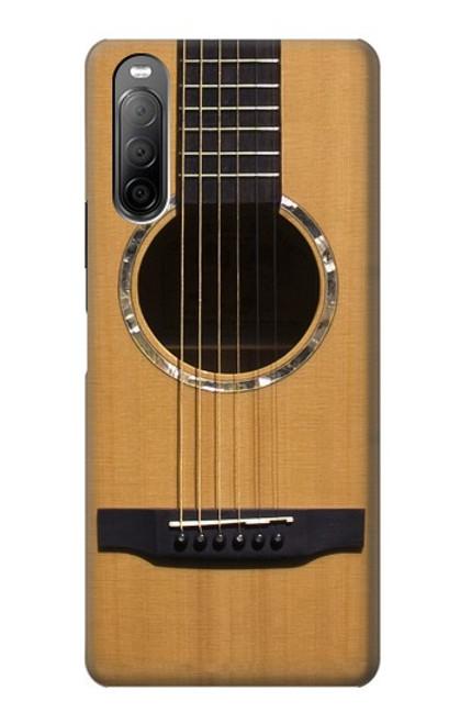 W0057 Acoustic Guitar Funda Carcasa Case y Caso Del Tirón Funda para Sony Xperia 10 II