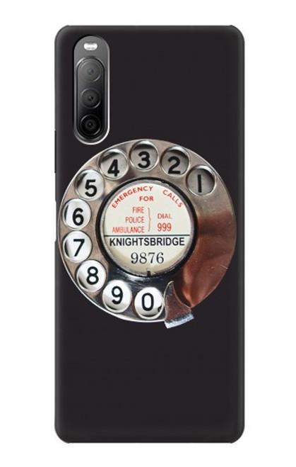W0059 Retro Rotary Phone Dial On Funda Carcasa Case y Caso Del Tirón Funda para Sony Xperia 10 II