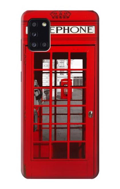 W0058 British Red Telephone Box Funda Carcasa Case y Caso Del Tirón Funda para Samsung Galaxy A31