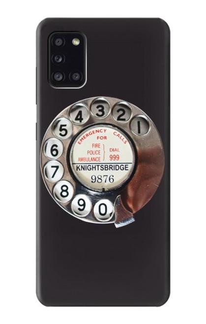 W0059 Retro Rotary Phone Dial On Funda Carcasa Case y Caso Del Tirón Funda para Samsung Galaxy A31