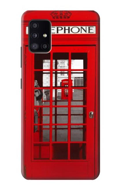 W0058 British Red Telephone Box Funda Carcasa Case y Caso Del Tirón Funda para Samsung Galaxy A41