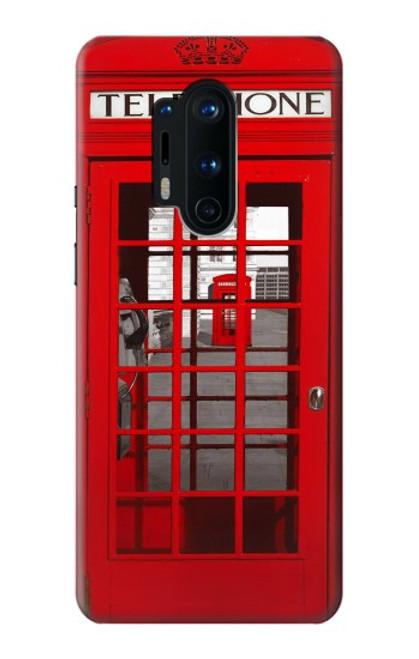 W0058 British Red Telephone Box Funda Carcasa Case y Caso Del Tirón Funda para OnePlus 8 Pro