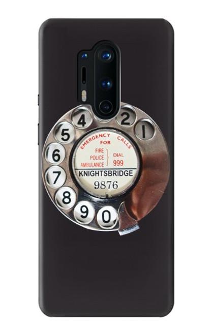 W0059 Retro Rotary Phone Dial On Funda Carcasa Case y Caso Del Tirón Funda para OnePlus 8 Pro