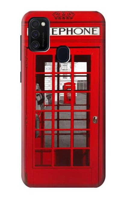 W0058 British Red Telephone Box Funda Carcasa Case y Caso Del Tirón Funda para Samsung Galaxy M21