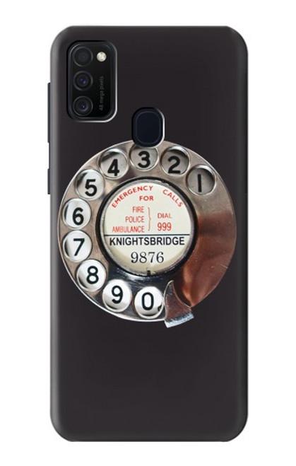 W0059 Retro Rotary Phone Dial On Funda Carcasa Case y Caso Del Tirón Funda para Samsung Galaxy M21