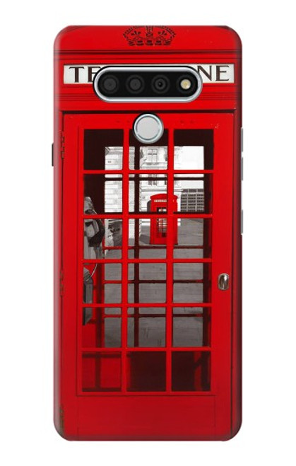 W0058 British Red Telephone Box Funda Carcasa Case y Caso Del Tirón Funda para LG Stylo 6