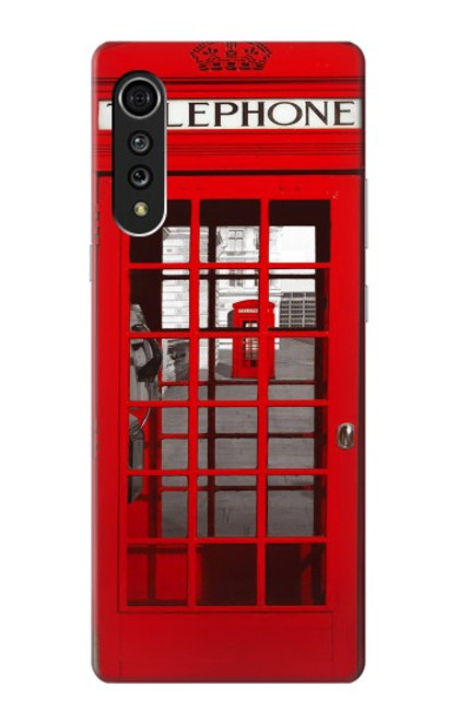W0058 British Red Telephone Box Funda Carcasa Case y Caso Del Tirón Funda para LG Velvet