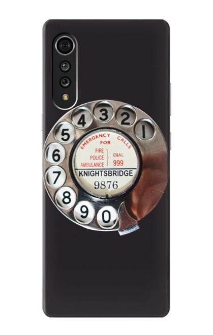 W0059 Retro Rotary Phone Dial On Funda Carcasa Case y Caso Del Tirón Funda para LG Velvet