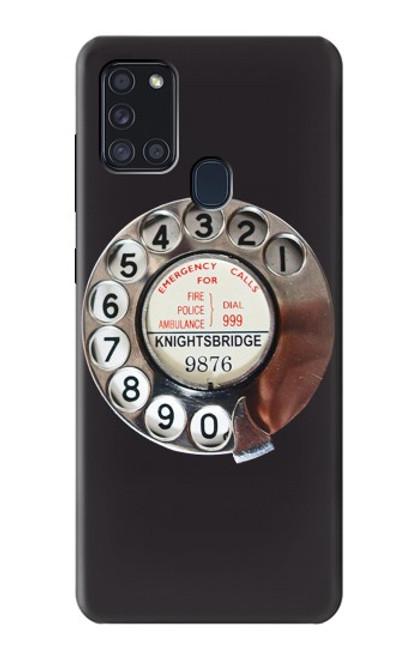 W0059 Retro Rotary Phone Dial On Funda Carcasa Case y Caso Del Tirón Funda para Samsung Galaxy A21s