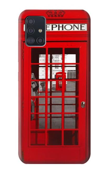 W0058 British Red Telephone Box Funda Carcasa Case y Caso Del Tirón Funda para Samsung Galaxy A51 5G [solo para A51 5G. NO para A51]