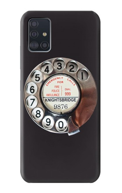 W0059 Retro Rotary Phone Dial On Funda Carcasa Case y Caso Del Tirón Funda para Samsung Galaxy A51 5G [solo para A51 5G. NO para A51]