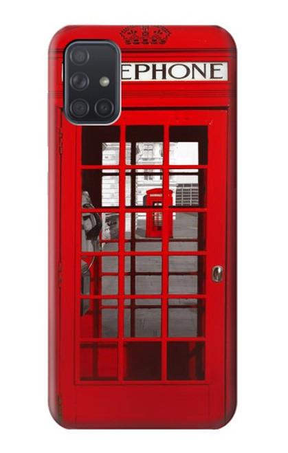 W0058 British Red Telephone Box Funda Carcasa Case y Caso Del Tirón Funda para Samsung Galaxy A71 5G [solo para A71 5G. NO para A71]