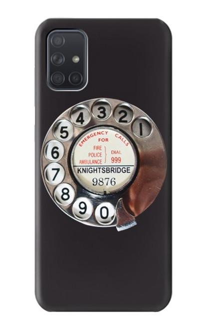 W0059 Retro Rotary Phone Dial On Funda Carcasa Case y Caso Del Tirón Funda para Samsung Galaxy A71 5G [solo para A71 5G. NO para A71]