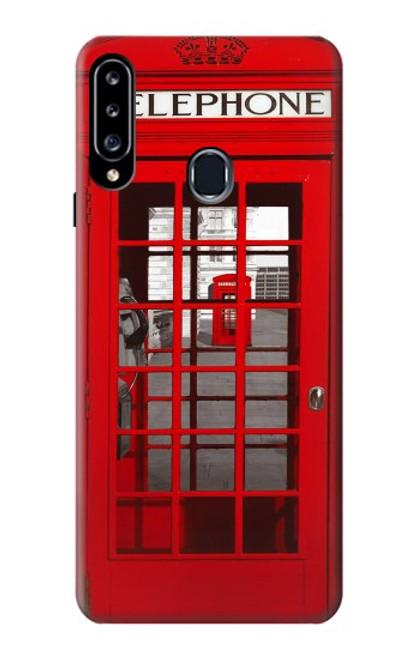 W0058 British Red Telephone Box Funda Carcasa Case y Caso Del Tirón Funda para Samsung Galaxy A20s