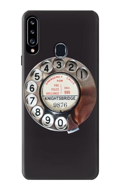 W0059 Retro Rotary Phone Dial On Funda Carcasa Case y Caso Del Tirón Funda para Samsung Galaxy A20s