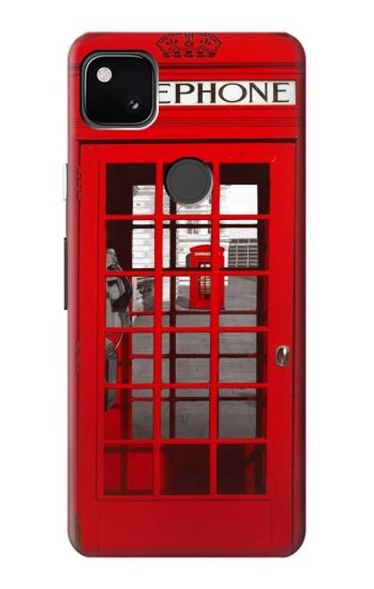 W0058 British Red Telephone Box Funda Carcasa Case y Caso Del Tirón Funda para Google Pixel 4a