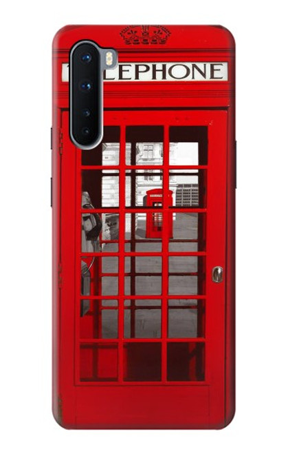 W0058 British Red Telephone Box Funda Carcasa Case y Caso Del Tirón Funda para OnePlus Nord