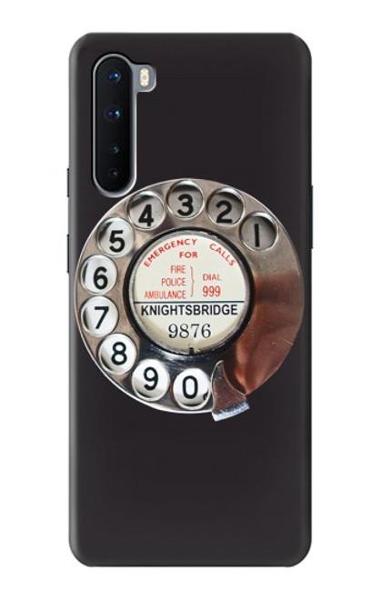 W0059 Retro Rotary Phone Dial On Funda Carcasa Case y Caso Del Tirón Funda para OnePlus Nord