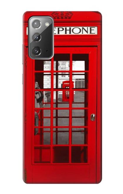 W0058 British Red Telephone Box Funda Carcasa Case y Caso Del Tirón Funda para Samsung Galaxy Note 20