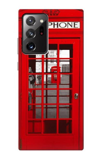 W0058 British Red Telephone Box Funda Carcasa Case y Caso Del Tirón Funda para Samsung Galaxy Note 20 Ultra, Ultra 5G