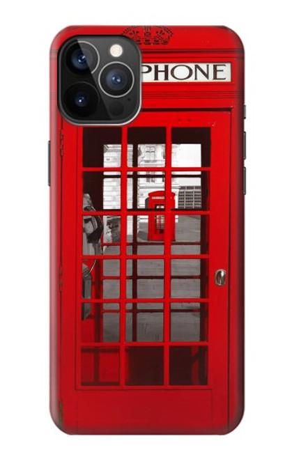 W0058 British Red Telephone Box Funda Carcasa Case y Caso Del Tirón Funda para iPhone 12, iPhone 12 Pro
