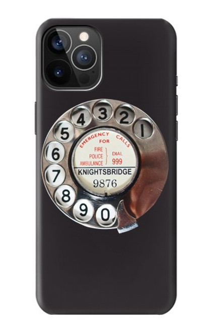 W0059 Retro Rotary Phone Dial On Funda Carcasa Case y Caso Del Tirón Funda para iPhone 12, iPhone 12 Pro