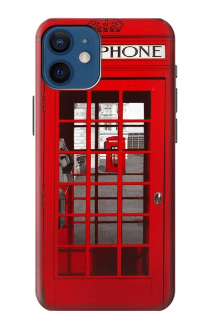 W0058 British Red Telephone Box Funda Carcasa Case y Caso Del Tirón Funda para iPhone 12 mini