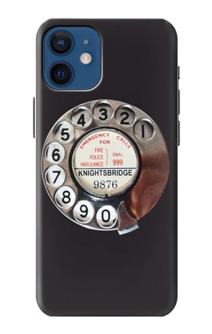 W0059 Retro Rotary Phone Dial On Funda Carcasa Case y Caso Del Tirón Funda para iPhone 12 mini