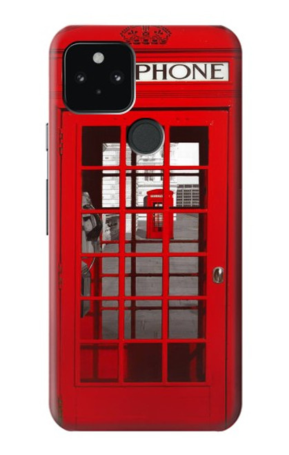 W0058 British Red Telephone Box Funda Carcasa Case y Caso Del Tirón Funda para Google Pixel 5
