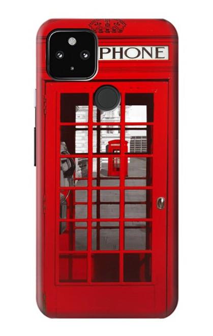 W0058 British Red Telephone Box Funda Carcasa Case y Caso Del Tirón Funda para Google Pixel 4a 5G