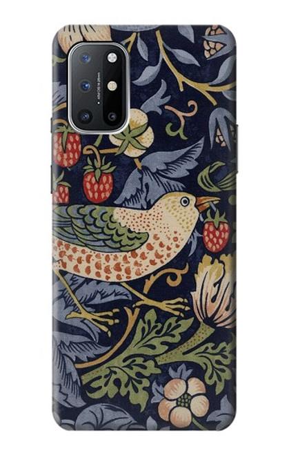 W3791 William Morris Strawberry Thief Fabric Funda Carcasa Case y Caso Del Tirón Funda para OnePlus 8T