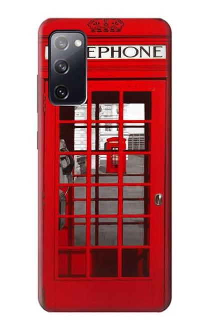 W0058 British Red Telephone Box Funda Carcasa Case y Caso Del Tirón Funda para Samsung Galaxy S20 FE