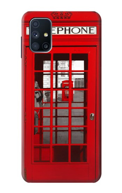 W0058 British Red Telephone Box Funda Carcasa Case y Caso Del Tirón Funda para Samsung Galaxy M51