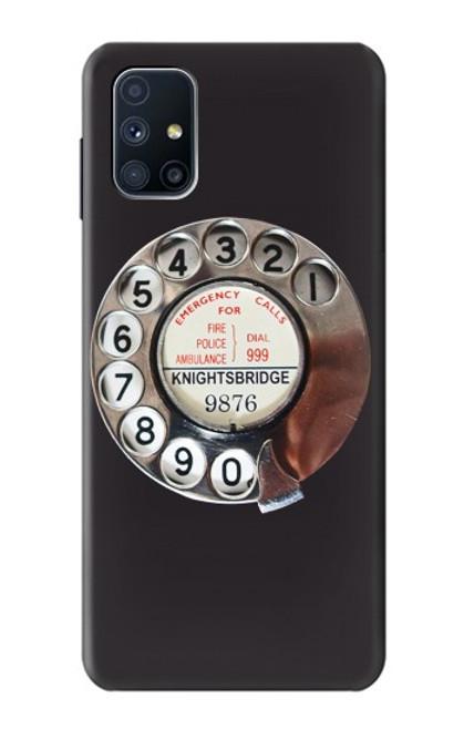 W0059 Retro Rotary Phone Dial On Funda Carcasa Case y Caso Del Tirón Funda para Samsung Galaxy M51