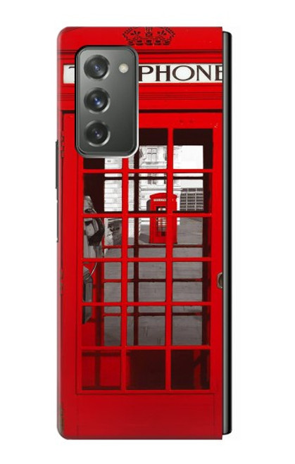 W0058 British Red Telephone Box Funda Carcasa Case y Caso Del Tirón Funda para Samsung Galaxy Z Fold2 5G