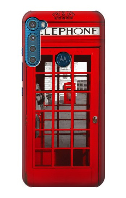 W0058 British Red Telephone Box Funda Carcasa Case y Caso Del Tirón Funda para Motorola One Fusion+