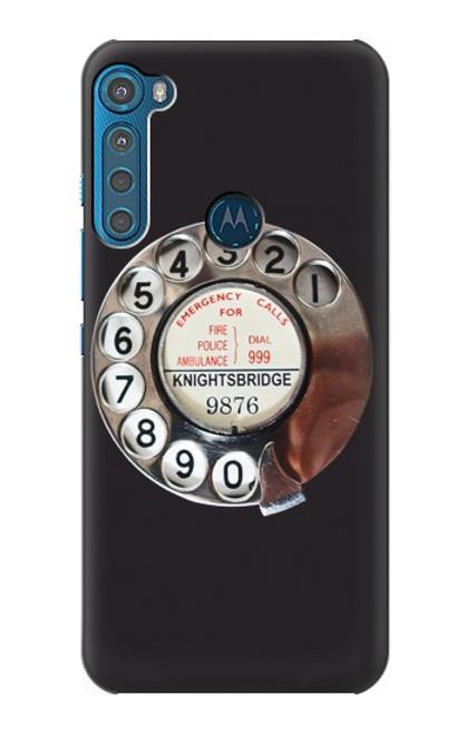 W0059 Retro Rotary Phone Dial On Funda Carcasa Case y Caso Del Tirón Funda para Motorola One Fusion+