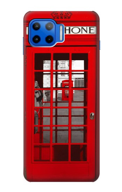 W0058 British Red Telephone Box Funda Carcasa Case y Caso Del Tirón Funda para Motorola Moto G 5G Plus