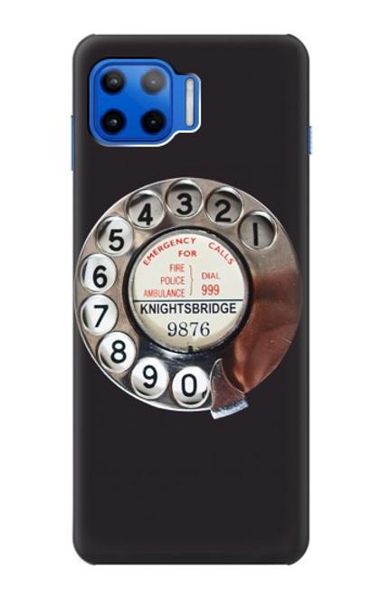 W0059 Retro Rotary Phone Dial On Funda Carcasa Case y Caso Del Tirón Funda para Motorola Moto G 5G Plus