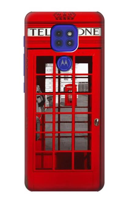 W0058 British Red Telephone Box Funda Carcasa Case y Caso Del Tirón Funda para Motorola Moto G9 Play