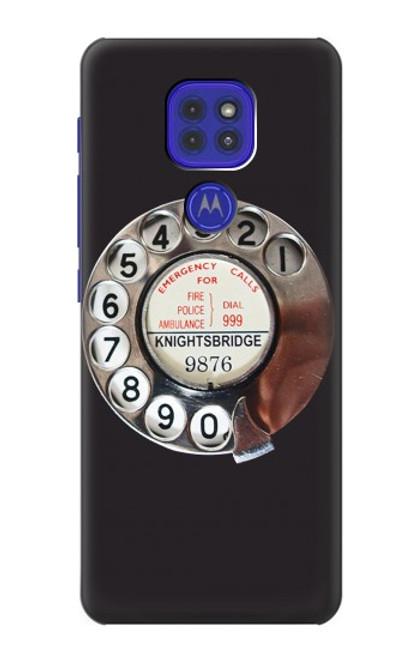 W0059 Retro Rotary Phone Dial On Funda Carcasa Case y Caso Del Tirón Funda para Motorola Moto G9 Play
