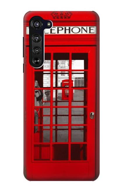 W0058 British Red Telephone Box Funda Carcasa Case y Caso Del Tirón Funda para Motorola Edge
