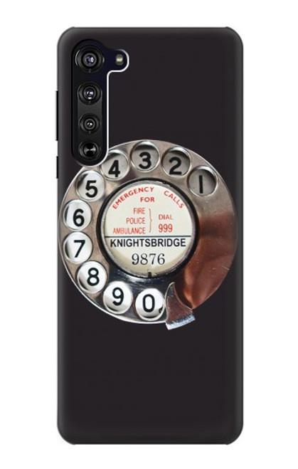 W0059 Retro Rotary Phone Dial On Funda Carcasa Case y Caso Del Tirón Funda para Motorola Edge