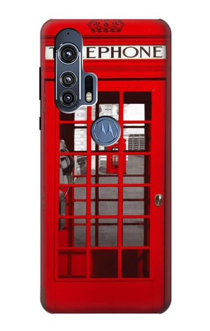 W0058 British Red Telephone Box Funda Carcasa Case y Caso Del Tirón Funda para Motorola Edge+