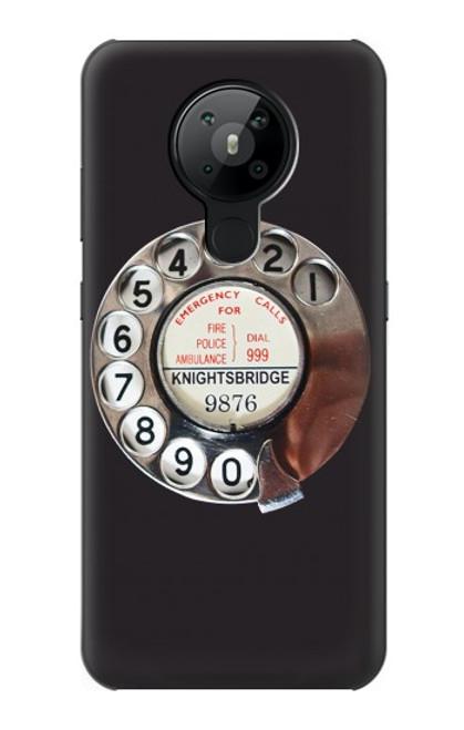 W0059 Retro Rotary Phone Dial On Funda Carcasa Case y Caso Del Tirón Funda para Nokia 5.3
