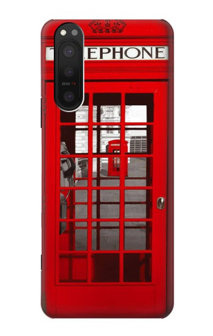 W0058 British Red Telephone Box Funda Carcasa Case y Caso Del Tirón Funda para Sony Xperia 5 II