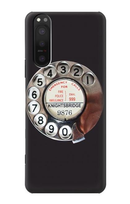 W0059 Retro Rotary Phone Dial On Funda Carcasa Case y Caso Del Tirón Funda para Sony Xperia 5 II